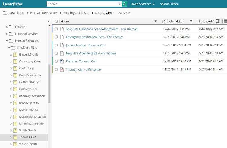 Folder structure in an ECM repository.